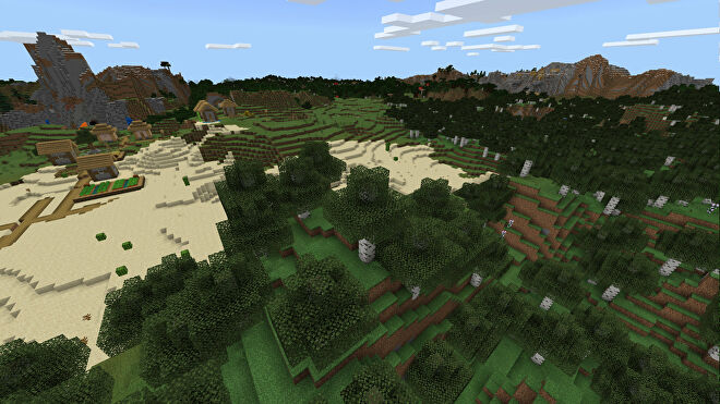 A Minecraft Bedrock screenshot of a landscape displayed using the Compromise Texture Pack.