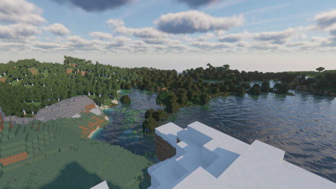 A Minecraft screenshot of a landscape with Continuum Shaders enabled.