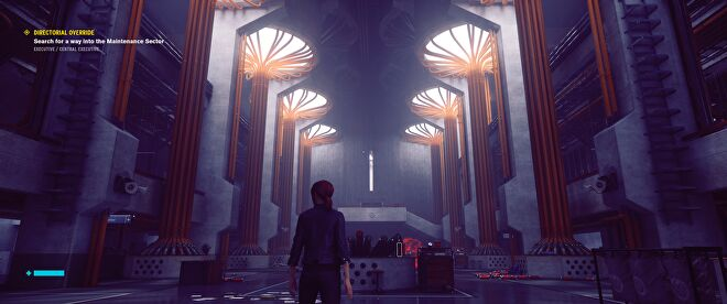 In Control, Jesse stands at the entrance to a gigantic abandoned mail room.