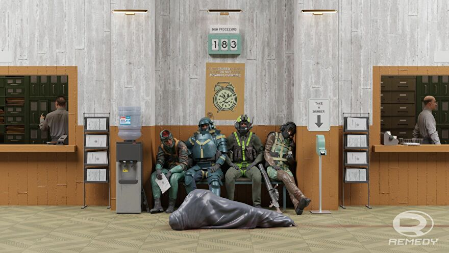 Concept art for Condor, a co-op spin-off to Control, showing four agents waiting on a bench with an occupied body bag in front of them.