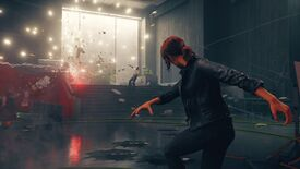 Jesse hurls an object with her powers in a Control screenshot.