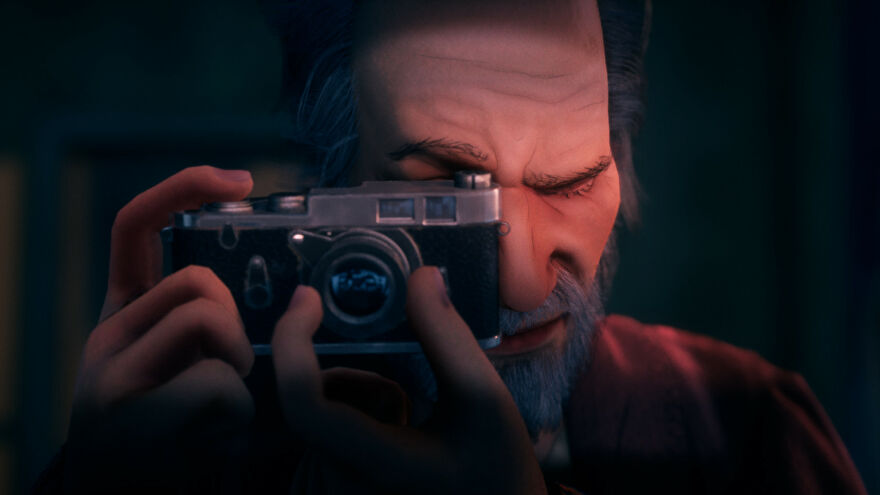 A close-up of man looking through the viewfinder of a camera, finger ready to take a picture, in a Conway: Disappearance At Dahlia View screenshot.
