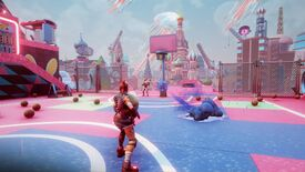 A screenshot of Core, showing a player facing away from the camera standing on a pink and purple basketball court surrounded by colourful buildings and many basketballs.