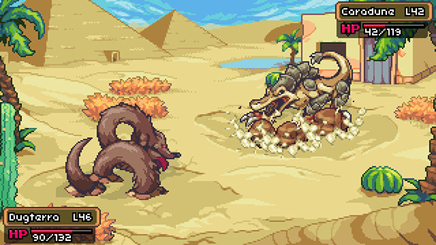 Two sandy creatures facing each other in a Coromon battle.