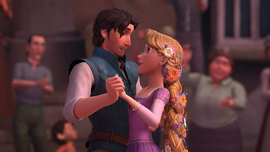 Rapunzel and Flynn dance in Kingdom Hearts 3
