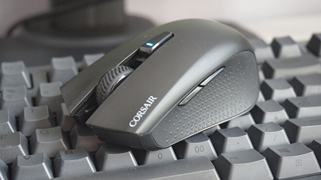 A photo of the Corsair Harpoon RGB Wireless gaming mouse