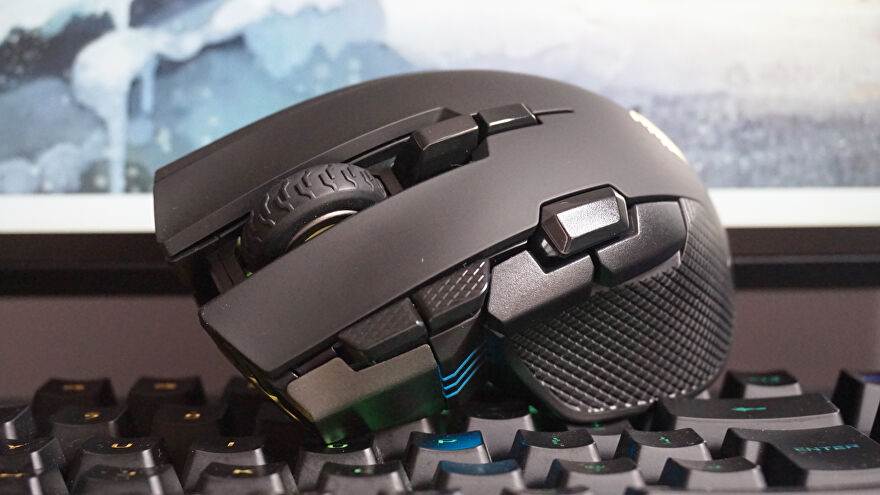 A photo of the Corsair Ironclaw RGB Wireless on top of a keyboard