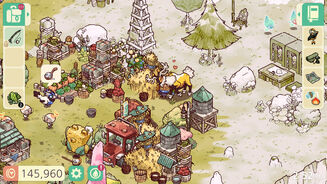A screenshot of Cozy Grove, showing a hand-drawn world of trees, crops, stacks of materials, and a happy looking reindeer hugging the player.