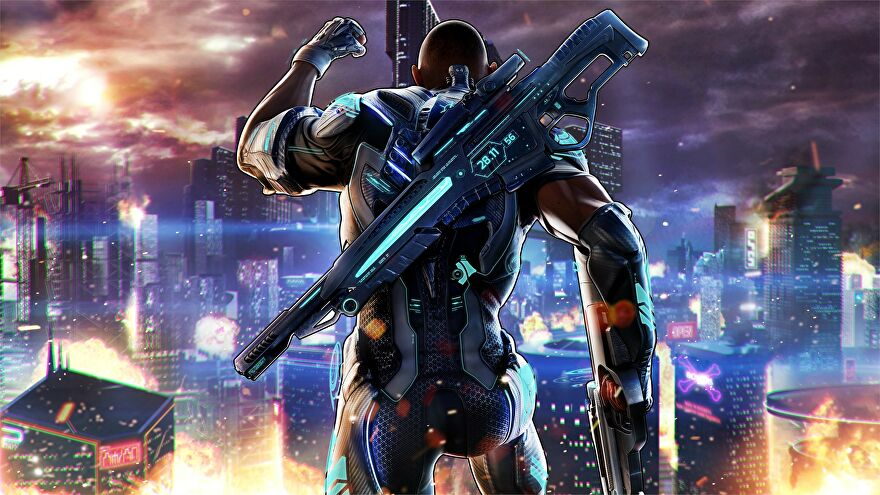 A man in a metal suit faces away from the camera pumping their fist in Crackdown 3