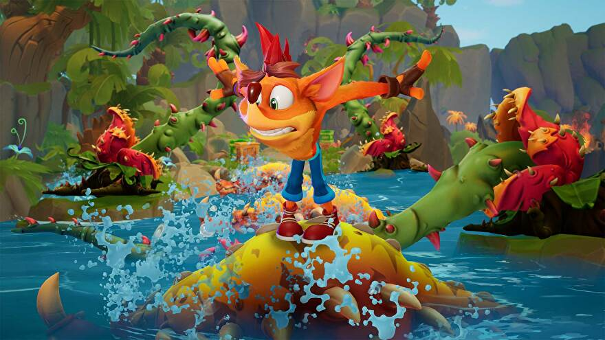 Crash Bandicoot 4 - Crash balances on a toothy enemy in the water surrounded by thorny vines.
