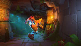 Crash Bandicoot running through a tunnel in a Crash Bandicoot 4 screenshot.