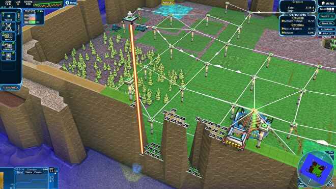 A screenshot of Creeper World 4 showing green terrain surrounded by high walls. A small segment of the wall is missing, so as to channel creeper through it.