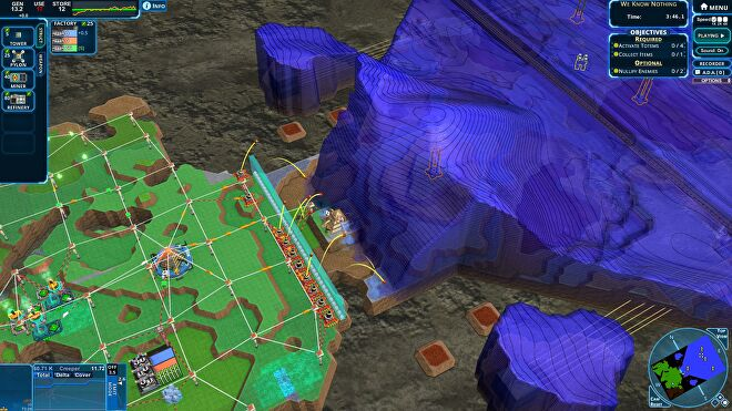 A screenshot of Creeper World 4 showing a line of turrets facing down an enormous wave of creeper which has begun to consume a building.