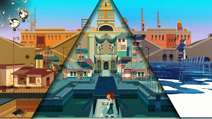 A screenshot showing the default view as you play Cris Tales. The screen is divided into three triangles. Cris Bell, in the middle, is standing in the present. The triangle on the right shows the same location in the future, whereas on the left it shows the past