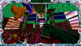 A screenshot of Cruelty Squad and hoo boy it has a lot of clashing textures.