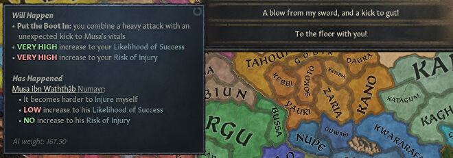 A Crusader Kings 3 screenshot showing a sly kick in the new duel system.