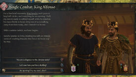A Crusader Kings 3 screenshot showing the new duels.