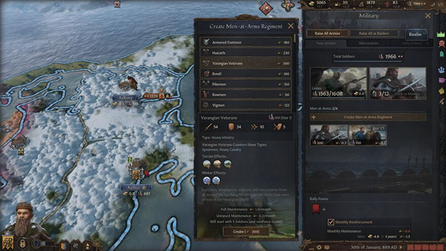 A screenshot of Crusader Kings 3's Northern Lords updates which adds Norse features to the game, including a wintery map shown here.