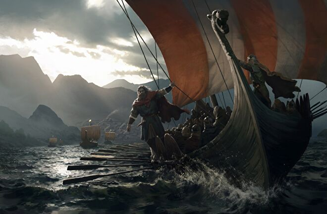 Key art for Crusader Kings 3's Northern Lords expansion, showing a viking longship at sea, oars in the water, and a lordy looking fellow hanging off the side of the ship and facing towards the viewer.