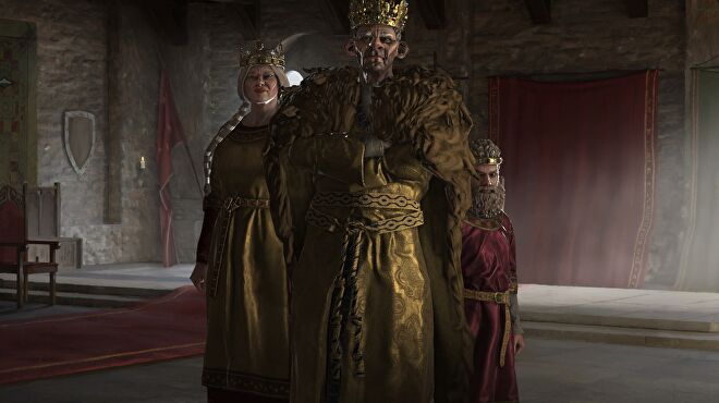 A monolithic, glowering king with a face like a starved bear, who barely fits on the screen, next to a giant woman and what appears to be a scowling, bearded child.