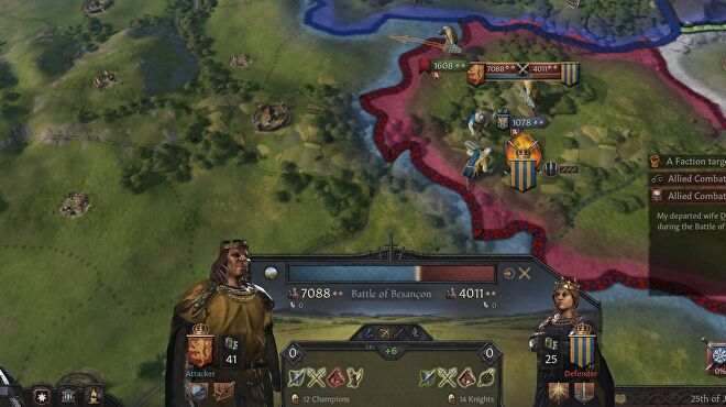 A battle playing out in Crusader Kings 3 - the huge and frightening form of King Bloodmaster dwarfs his opponent on the combat UI.