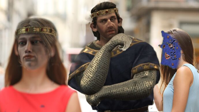 "Crude photoshop of the ""man looking at a woman in a red dress while his girlfriend looks angrily at him"" meme, in which the man is a giant duke, the red dress woman is a blank-faced queen, and the girlfriend is France."