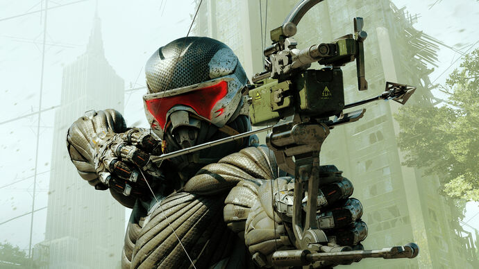 Aiming a bow in Crysis 3 Remastered artwork.