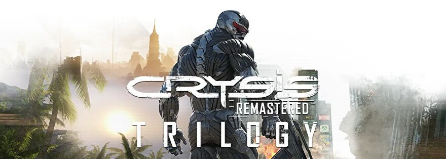 A Crysis Remastered logo, with a soldier in a nanosuit - Prophet? - looking over his shoulder.