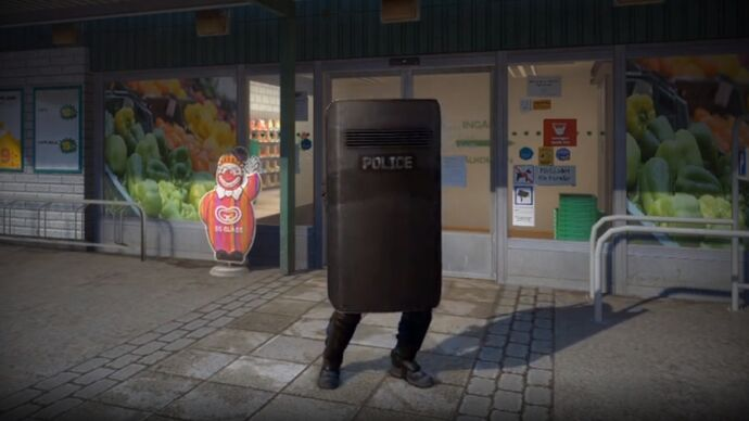A video still showing the CS:GO riot shield in action.