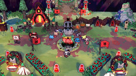 A village surrounding a statue of a lamb with bleeding eyes in a Cult of the Lamb screenshot.