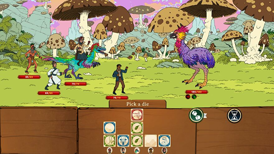 The expedition group in Curious Expedition face off against a large purple bird that looks like an ostrich would if it got in pub fights a lot