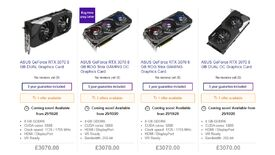 Image for Currys pricing error makes RTX 3070 pre-orders twice as expensive as RTX 3090