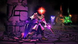 Curse Of The Dead Gods' main character sporting Dead Cells' Prisoner's flaming head.