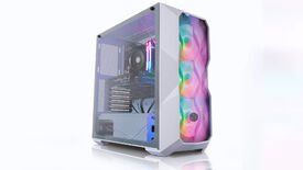 a photo of a gleaming white desktop gaming PC with rare components including RTX 3060 and Ryzen 5600X