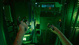 A Cyberpunk 2077 screenshot showing V jacking into a server with the USB cable in her arm.