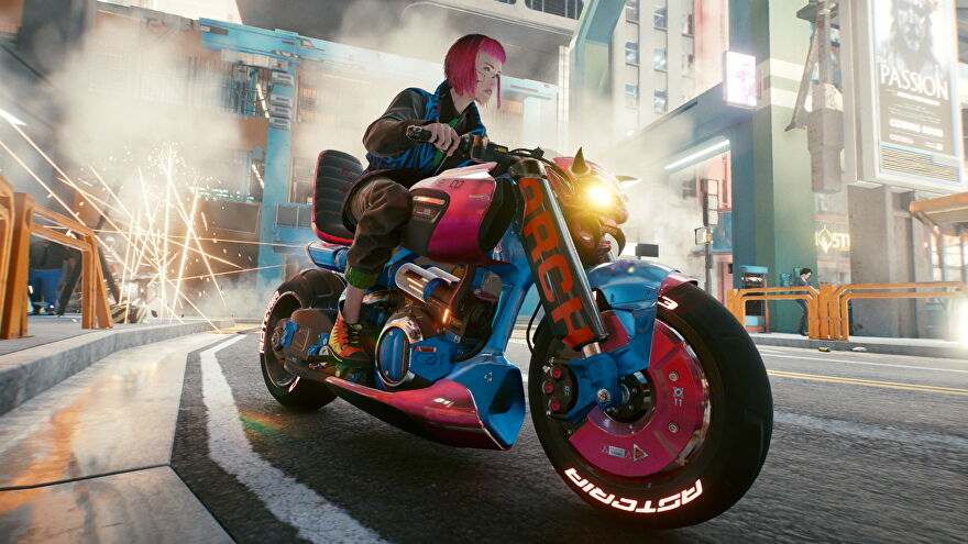 Cyberpunk 2077 - V riding on a bright pink and blue motorcycle.