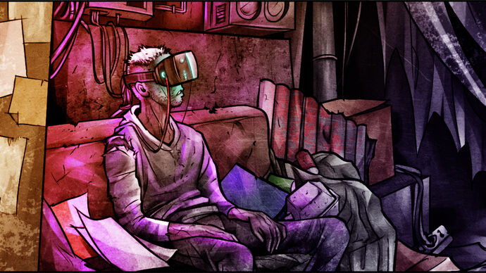 Cyberpunkdreams - An illustration of a character sitting on a couch surrounded by garbage wearing a VR headset.