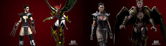 Diablo 2's original and remastered Assassin and Succubus, who both shared a 3D model for their body 3D.