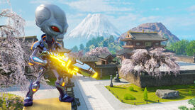 A screenshot of Destroy All Humans 2: Reprobed, showing an alien with Mt. Fuji and some traditional Japanese buildings in the background.