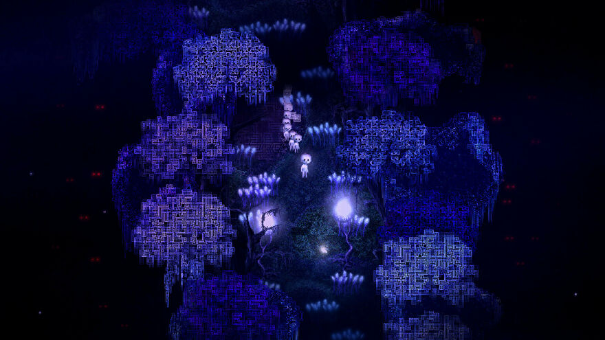 Dap - A small, all white character stands in a dark blue creepy forest with a group of identical small while characters following behind them.