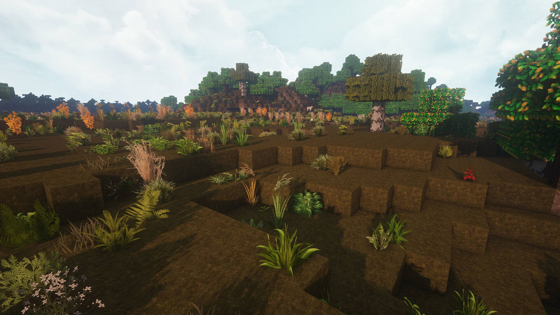 A Minecraft screenshot of a landscape displayed using the LB Photo Realism Texture Pack.
