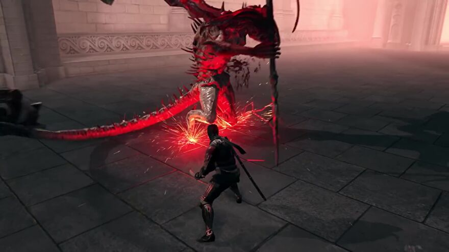 A screenshot from Dark Souls: Nightfall which shows the player slice a winged demon with a katana.