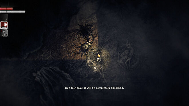 The protagonist of Darkwood examines, in torchlight, the body of a woman tied to a strange, worm-like growth coming out of the floor