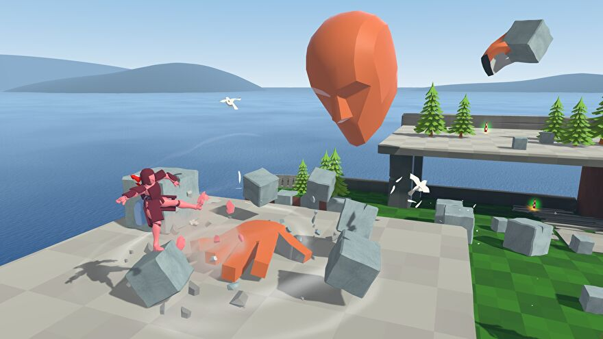 A screenshot of Davigo showing a giant floating head swatting at a small polygonal man with a disconnected giant hand.