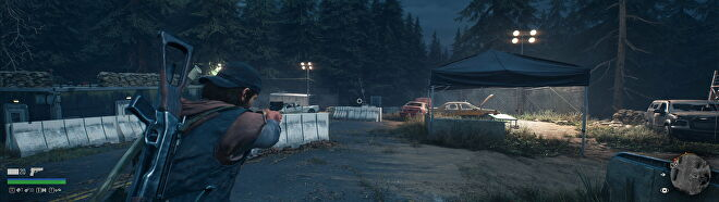 A screenshot of Deacon aiming his gun in Days Gone in a 32:9 aspect ratio