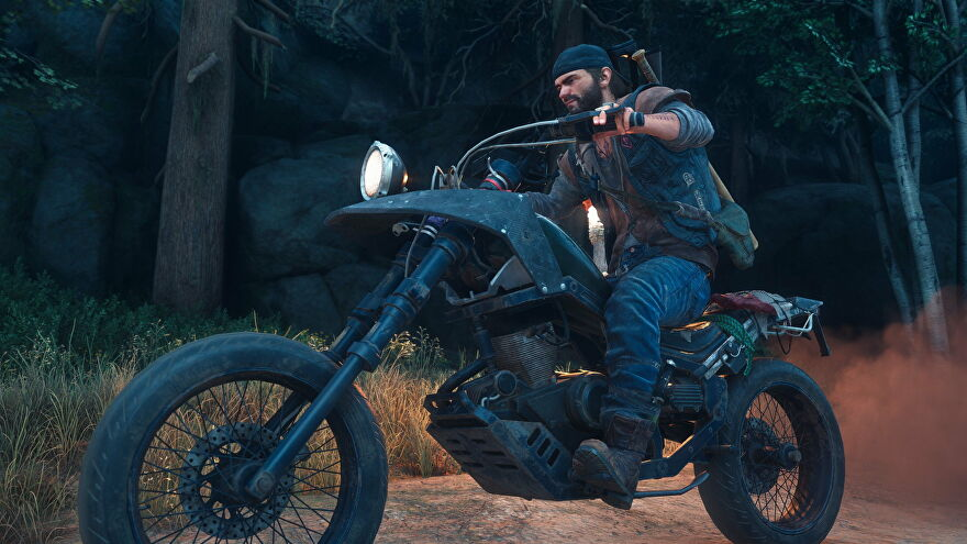 Deacon riding his motorcycle in Days Gone