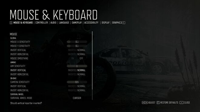 The mouse and keyboard settings menu from Days Gone