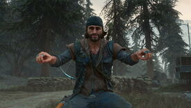 A screenshot of Deacon sitting in his motorbike pose (but without the bike onscreen) in Days Gone