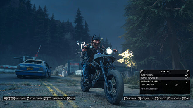 A screenshot of Days Gone's photo mode showing Deacon's bike visibility enabled
