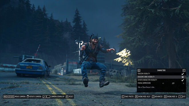 A screenshot of Days Gone's photo mode showing Deacon's bike visibility disabled